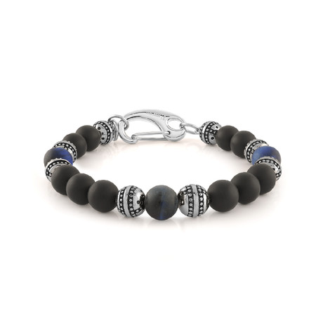 "Beaded Bracelet // Matte Blue Tiger Eye + Matte Onyx (7.7""L)"