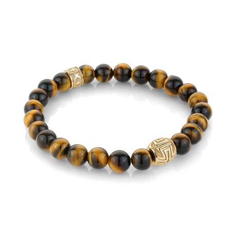 "Beaded Bracelet // Yellow Tiger Eye (7.7""L)"