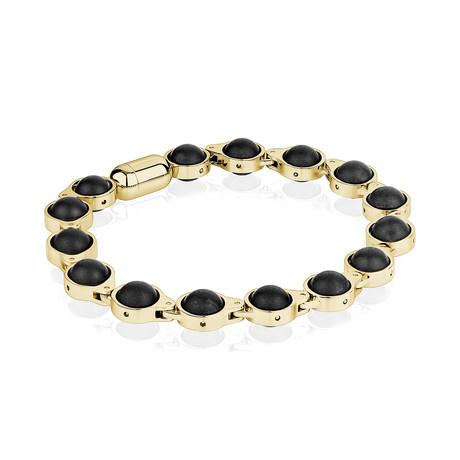 """Magnetic Clasp Bracelet // Gold + Matte Onyx (7.7""""L)"""