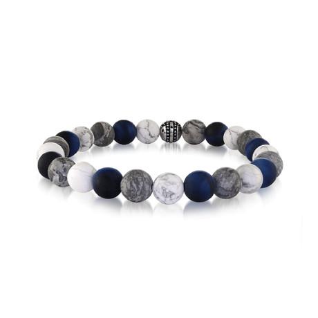 """Beaded Bracelet // White + Gray Marble // 8.2""""L"""