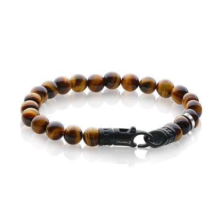 """Tiger Eye Bead Bracelet // Yellow + Matte Black // 8.2"""""""