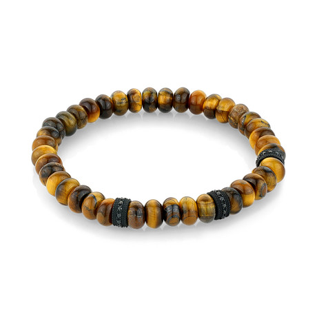 "Beaded Bracelet // Black + Yellow Tiger Eye (8.2""L)"