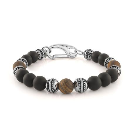 """Beaded Bracelet // Brown Tiger Eye + Matte Black Onyx (7.7""""L)"""