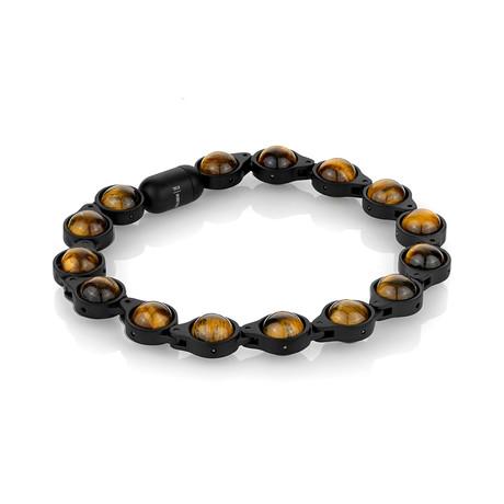 """Magnetic Clasp Bracelet // Black + Tiger Eye (7.7""""L)"""