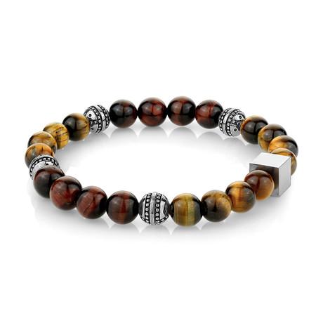 "Beaded Bracelet // Brown + Red Tiger Eye (7.7""L)"