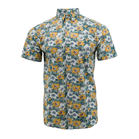 Floral Tapestry Short-Sleeve Shirt // Teal (S)