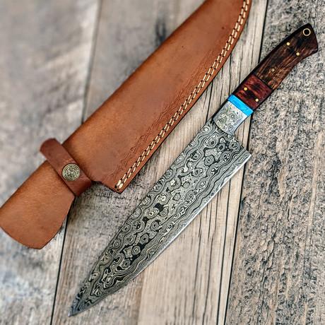 Damascus Chef Knife // Turquoise + Paduk + Walnut