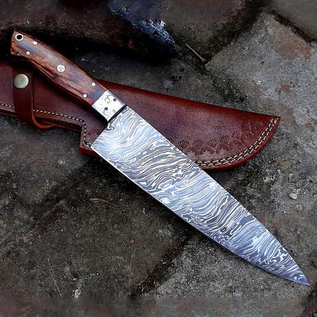Damascus Chef Knife // Oak Wood