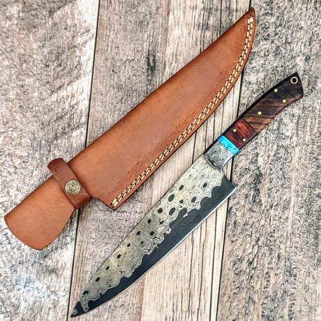 Sanmai Chef Knife // Turquoise + Paduk + Walnut