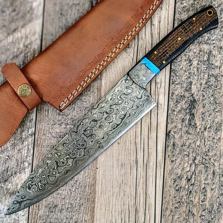 Damascus Chef Knife // Turquoise + Micarta