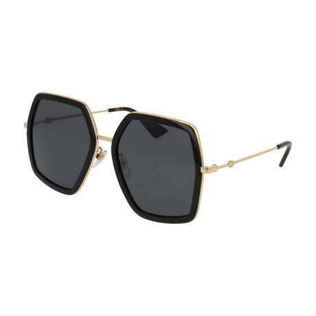 Women's GG0106S-001 Sunglasses // Black + Gray Gradient