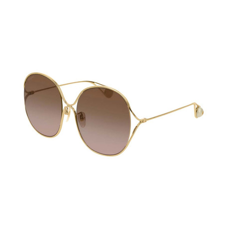 Women's GG0362S-002 Sunglasses // Gold + Brown Shaded