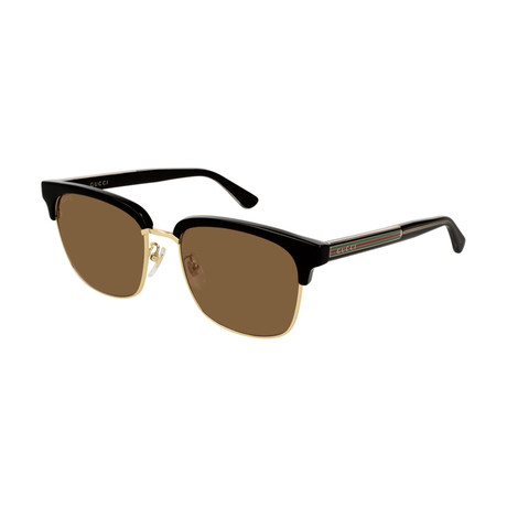 Men's GG0382S-002 Sunglasses // Black + Brown