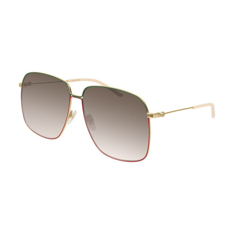 Women's GG0394S-003 Sunglasses // Gold + Brown