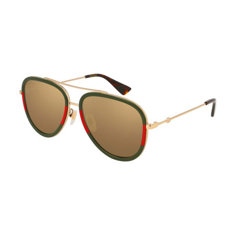 Women's GG0062S-010 Polarized Sunglasses // Gold + Green