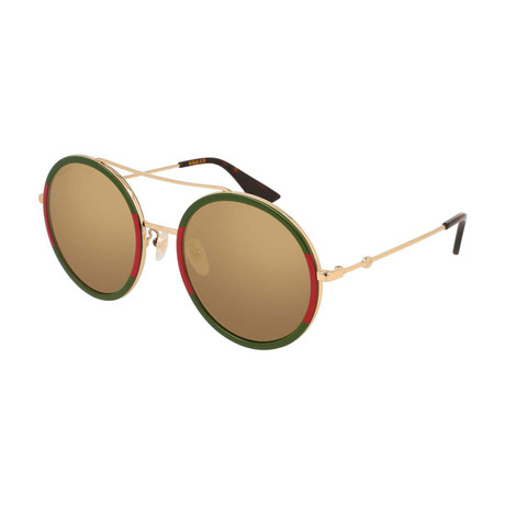 Women's GG0061S-012 Polarized Sunglasses // Gold + Green + Gold
