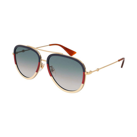Women's GG0062S-013 Sunglasses // Gold + Red + White + Blue Gradient