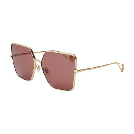 Women's GG0436S-001 Sunglasses // Gold + Brown