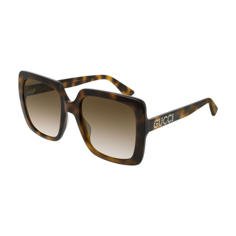 Women's GG0418S-003 Sunglasses // Havana + Brown Gradient