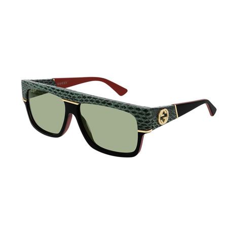 Men's GG0483S-003 Sunglasses // Black + Green