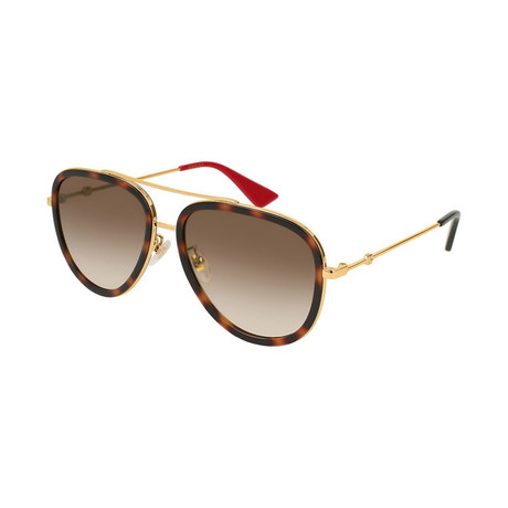 Women's GG0062S-012 Sunglasses // Gold + Tortoise + Brown Gradient