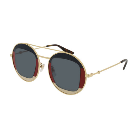Women's GG0105S-005 Sunglasses // Gold + Blue + Red + White