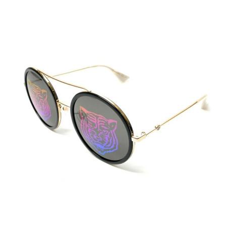 Women's GG0061S-014 Sunglasses // Gold + Black + Green