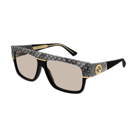 Men's GG0483S-001 Sunglasses // Black + Gray