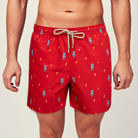Robot Swim Short // Red (S)