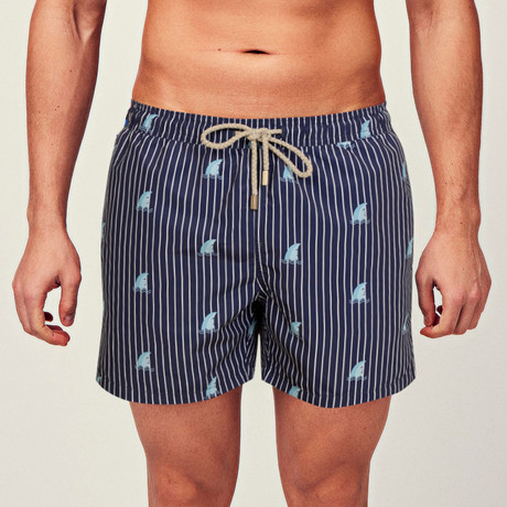 Shark Swim Short // Blue + Gray (S)