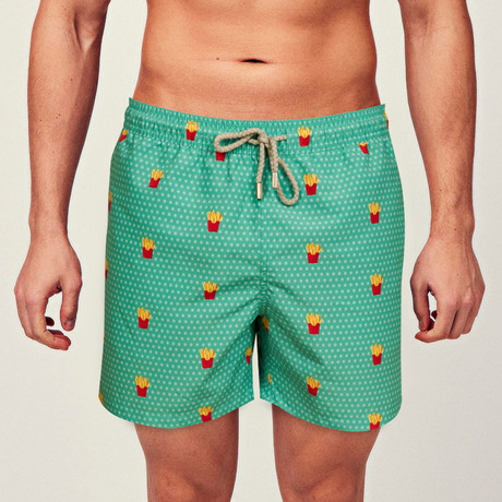 French Fries Swim Short // Green (S)