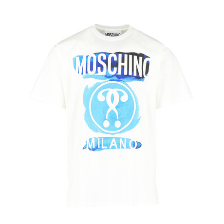 Unisex Watercolor Logo T- Shirt // White + Blue (XS)