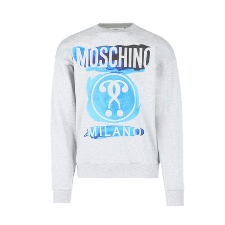 Men's Watercolor Sweatshirt // Gray + Blue (Euro: 44)