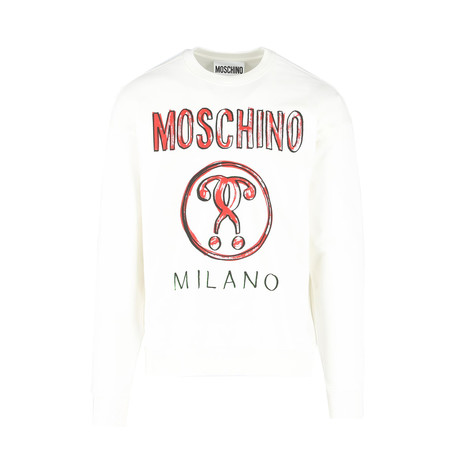 Men's Brushstroke Sweatshirt // White + Red (Euro: 44)
