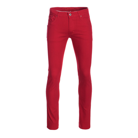 Striated Skinny-Stretch Cotton Pants // Red (28WX30L)