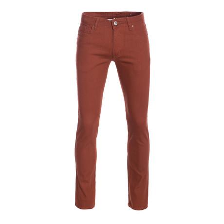 Striated Skinny-Stretch Cotton Pants // Brick (28WX30L)