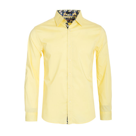 Solid Cotton-Stretch L/S Shirt  // Yellow (S)