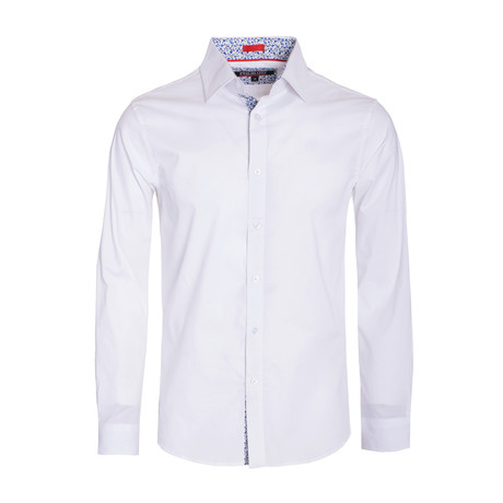Solid Cotton-Stretch L/S Shirt  // White (S)