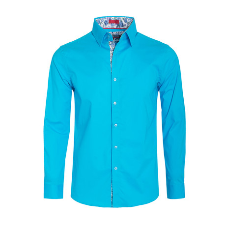 Solid Cotton-Stretch Long Sleeve Shirt // Turquoise (S)