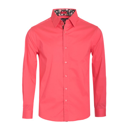 Solid Cotton-Stretch L/S Shirt  // Coral (S)