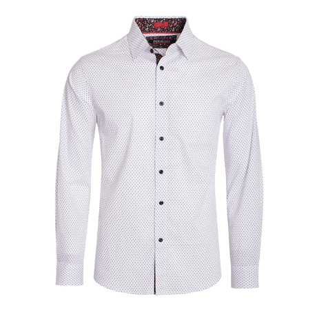Polka Dot Cotton-Stretch L/S Shirt // White (M)