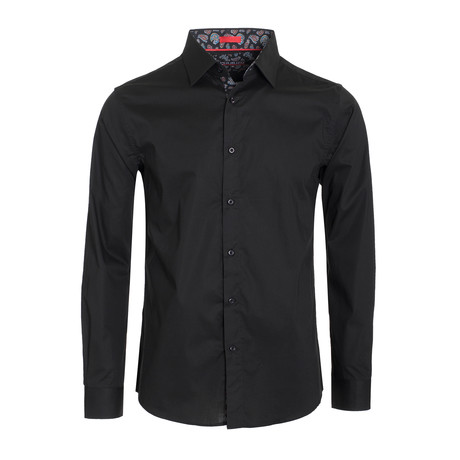 Solid Cotton-Stretch Long Sleeve Shirt // Black (S)