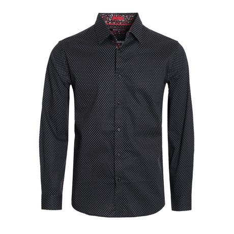Polka Dot Cotton-Stretch L/S Shirt // Black (M)