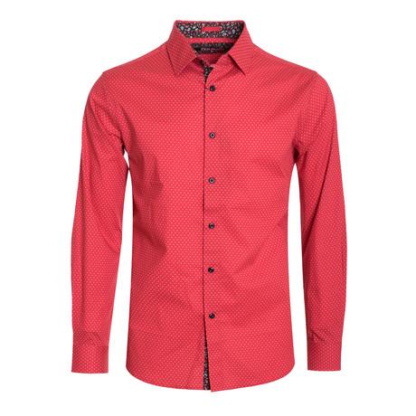 Polka Dot Cotton-Stretch L/S Shirt // Red (M)