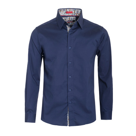 Solid Cotton-Stretch Long Sleeve Shirt // Navy (S)