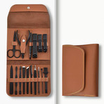 16-in-1 Leather Manicure Set (Brown)
