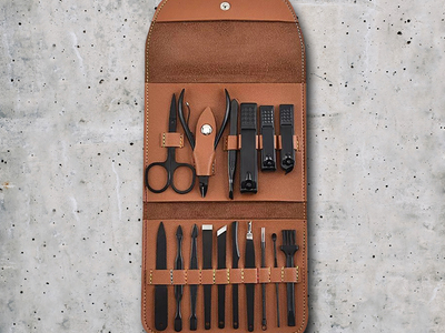 photo of 16-in-1 Leather Manicure Set (Brown) by Touch Of Modern