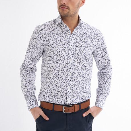Santino Button-Up Shirt // White + Black (S)