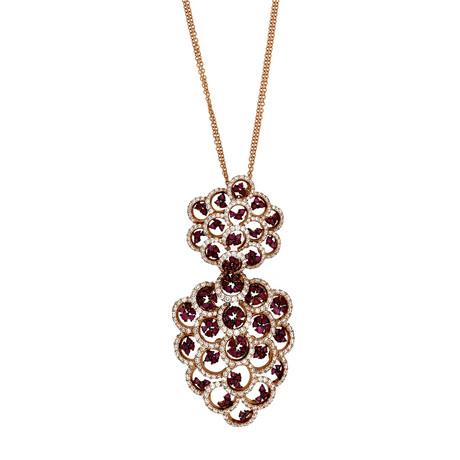Stefan Hafner 18k Pink Gold Diamond + Ruby Necklace