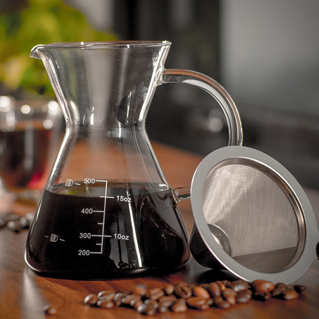 Drip Pour Over Coffee Set With Double-Layer Mesh Filter